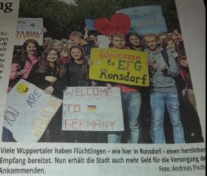 In Duitsland waren er vele acties om vluchtelingen welkom te heten. Inspiratie?